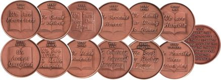 Copper 12 Step Medallions