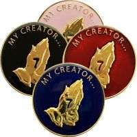 7th Step Prayer Plated AA Coin with Choice of Color