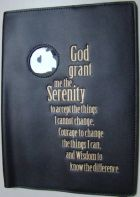 Black or Red Leather AA Big Book Cover with Serenity Prayer and coin holder