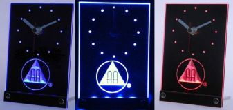 AA 3D Engraved Lighted Shelf Clock