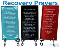 Glass Recovery Prayer Plaques with Easel